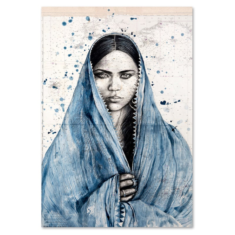"Image of Canva Art Print - ""Mamta en indigo"""