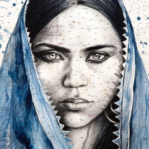 """Image of Canva Art Print - """"Mamta en indigo"""""""