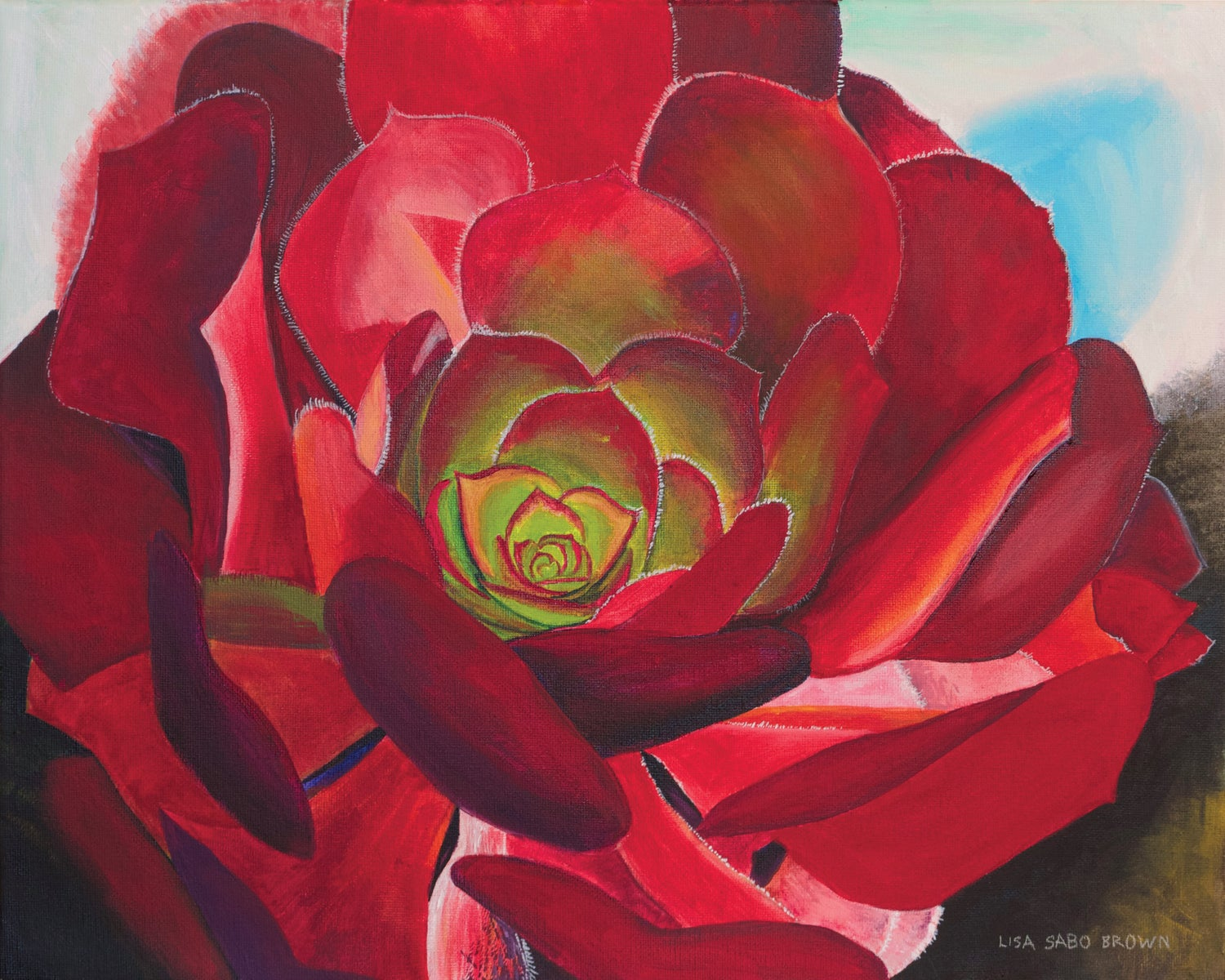 Image of Red succulent print