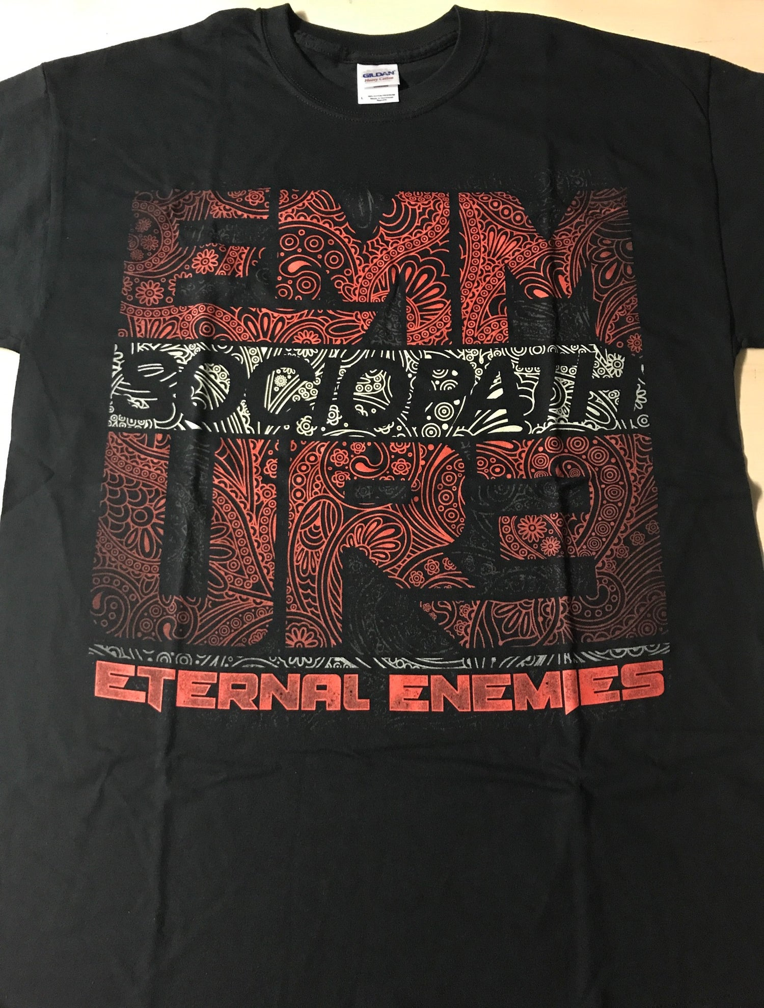 "Image of EMMURE ""ETERNAL ENEMIES PAISLEY"" SIZE LARGE & XL SHIRT"