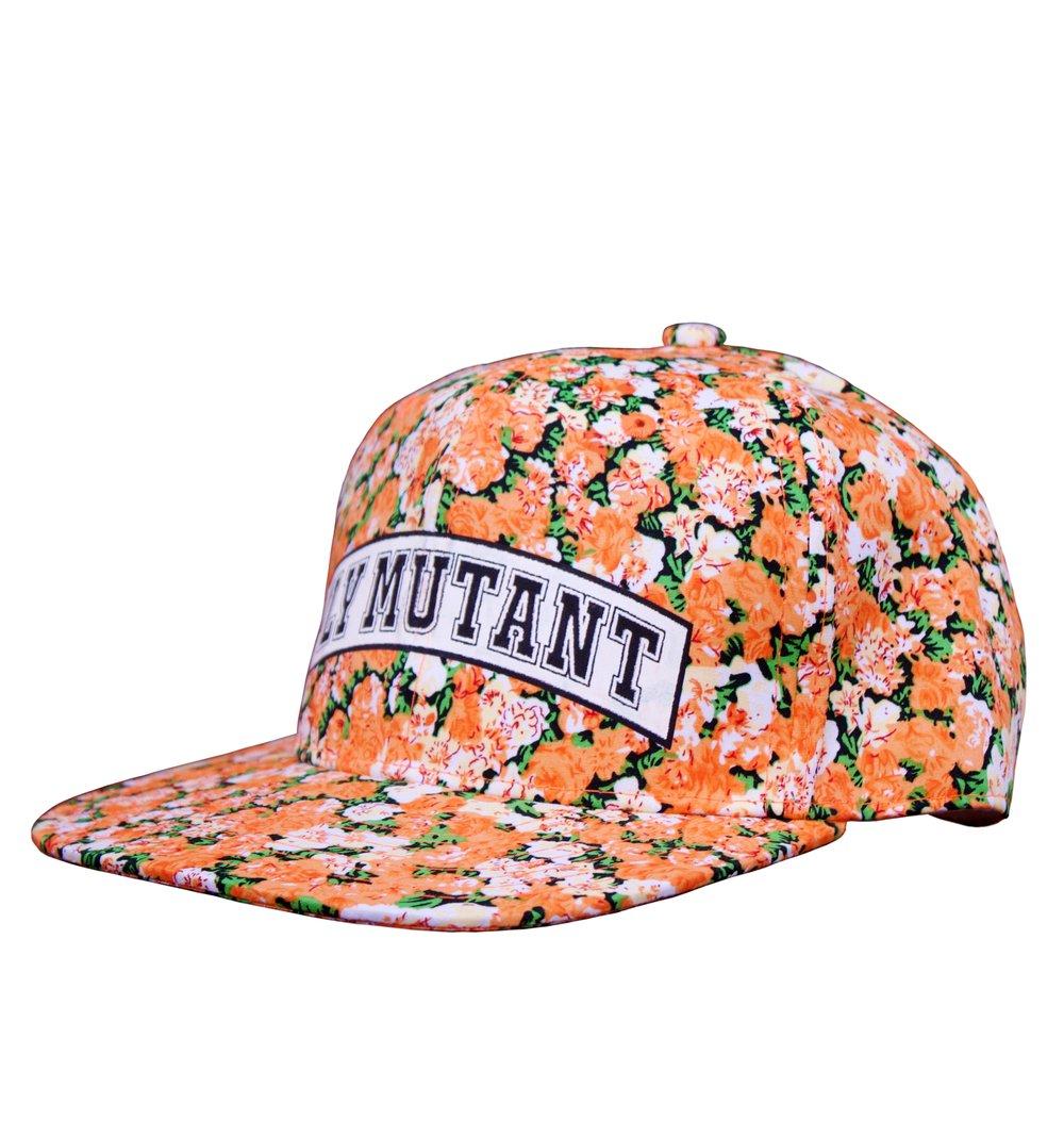 Image of Fm Orange Flowers Snapback Hat