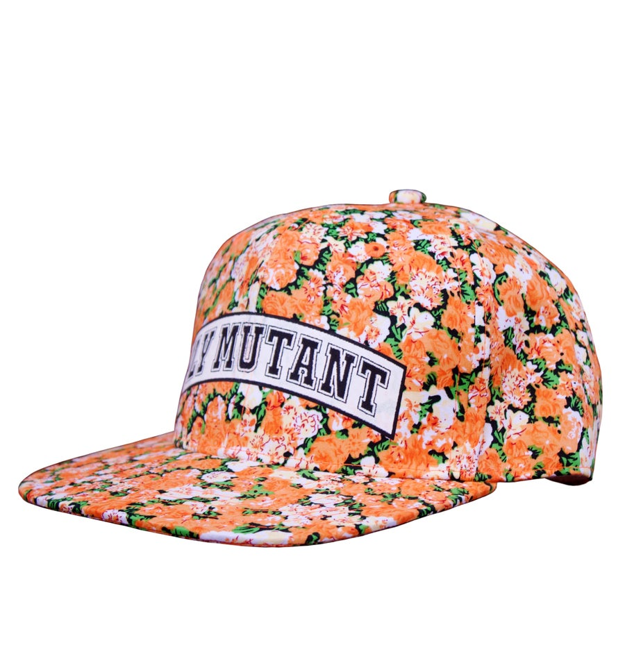 Image of Fm Orange Flowers Snapback Hat