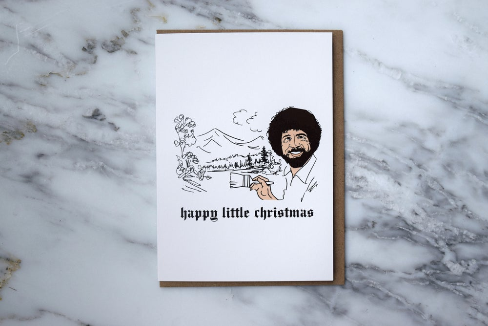 Image of Bob Ross Holiday Card