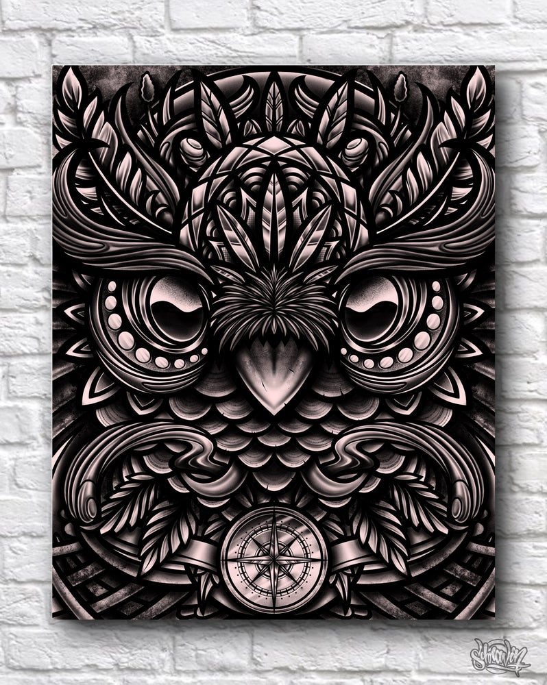 Image of Owl Compass Canvas Print