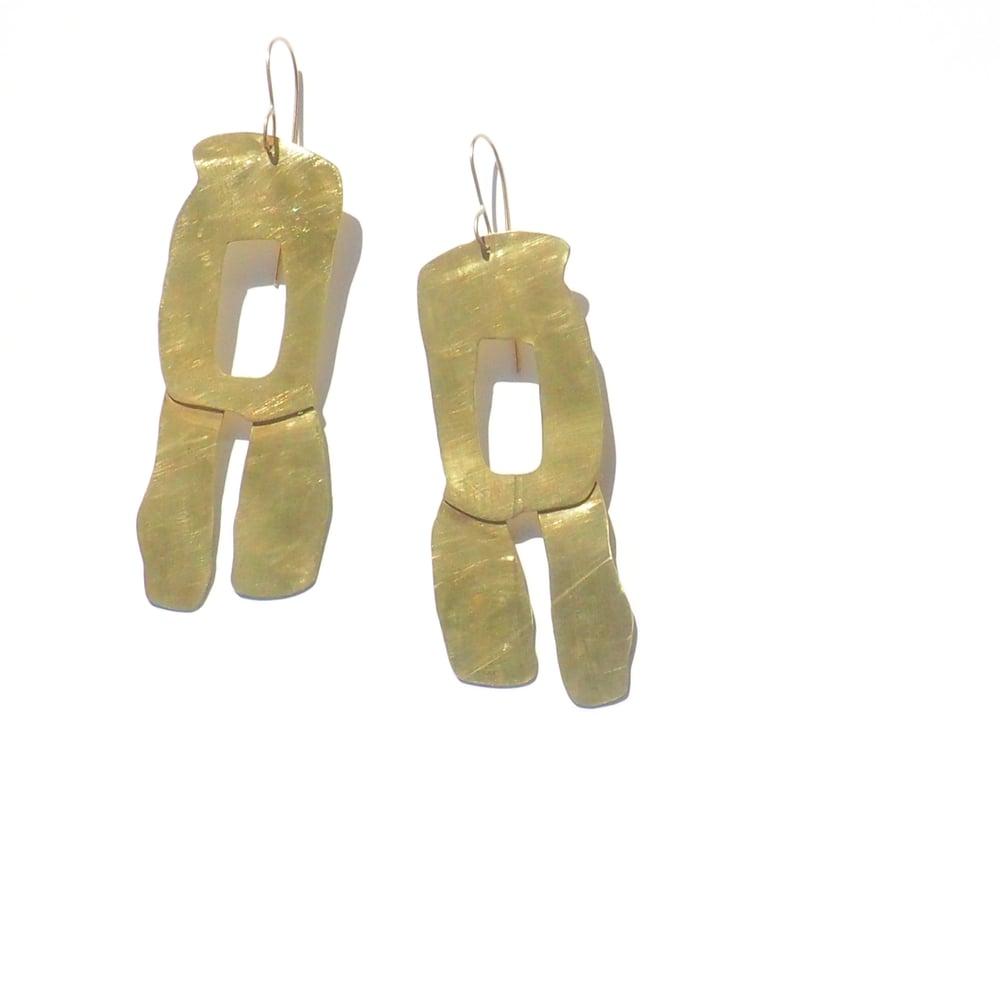 Image of Irregular Brass Shapes Earrings III