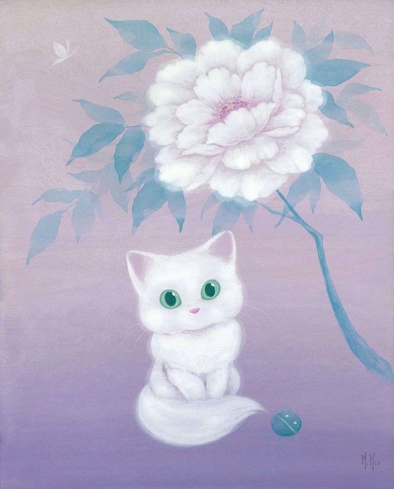 Image of White Cat and Peony - Prints