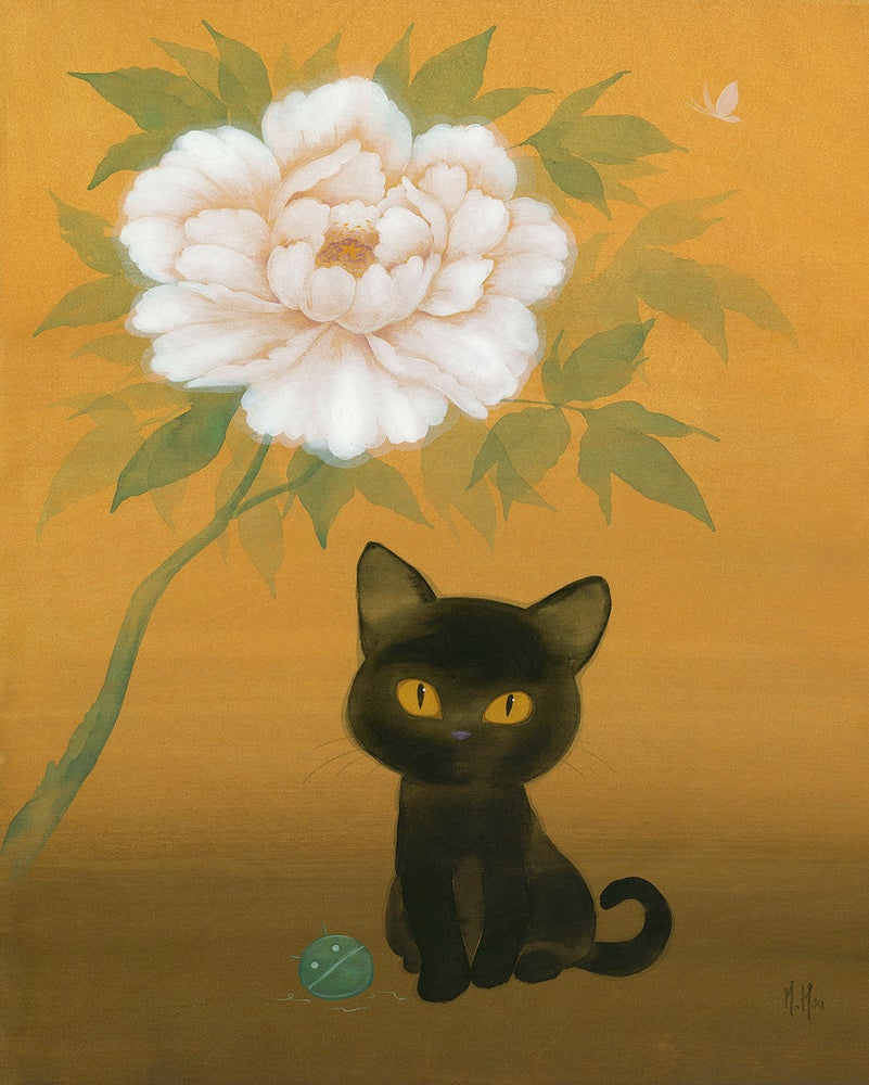 Image of Black Cat and Peony - Prints