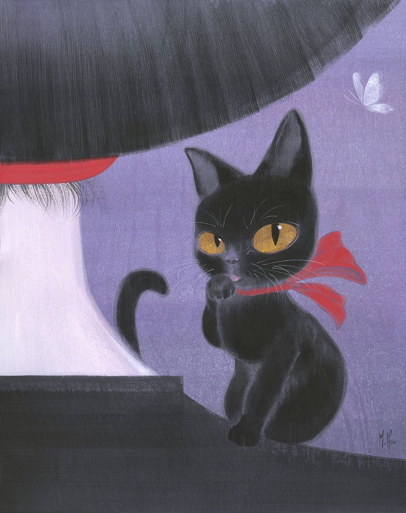 Image of Girl and Black Cat - Prints