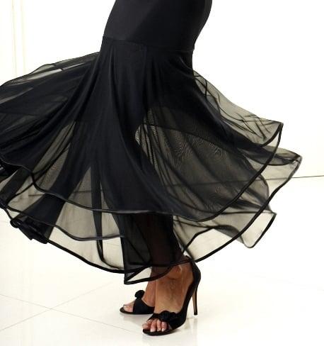 Image of J1705A Ballroom Flow Skirt BLACK or RED Dancewear latin ballroom