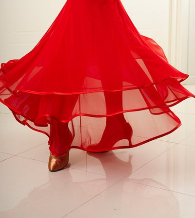 Image of J1705A Ballroom Flow Skirt BLACK or RED