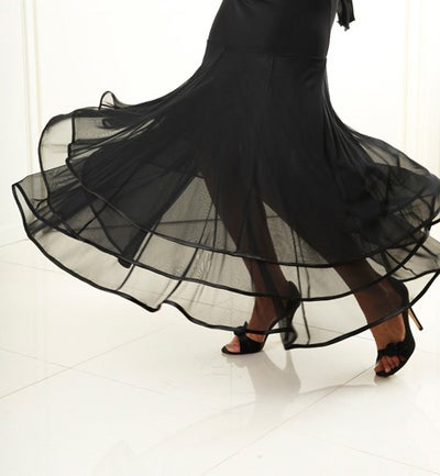 Image of J1705A Ballroom Flow Skirt BLACK or RED