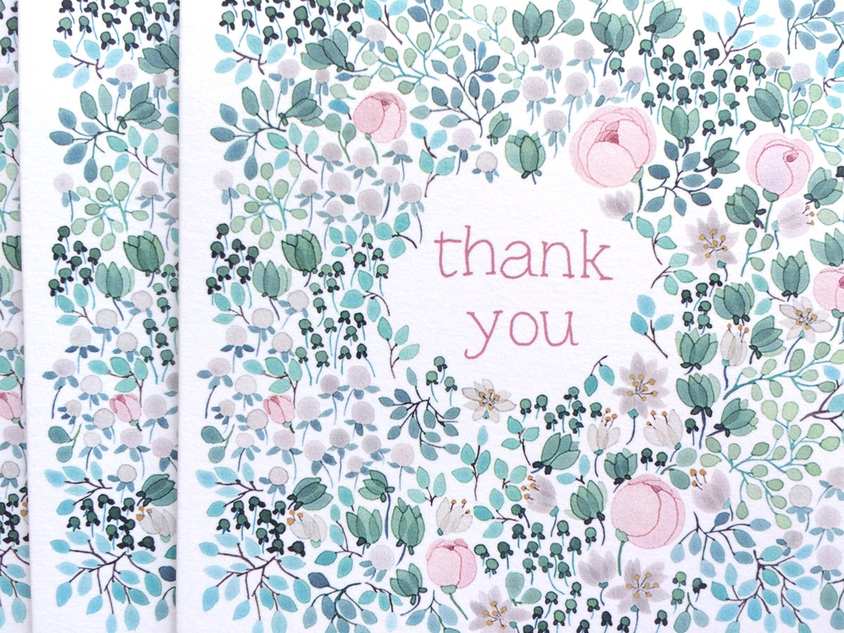 Image of May Bouquet Thank You Greeting Cards, pack of 5