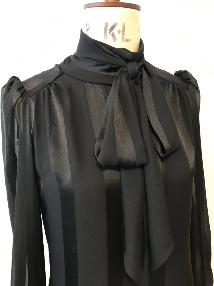 Image of Sheer stripe chiffon tie neck blouse
