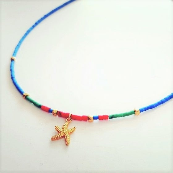 Image of starfish blue necklace