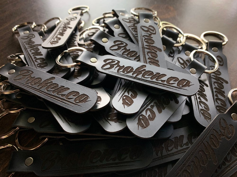 Image of Broken.co Leather Keychain
