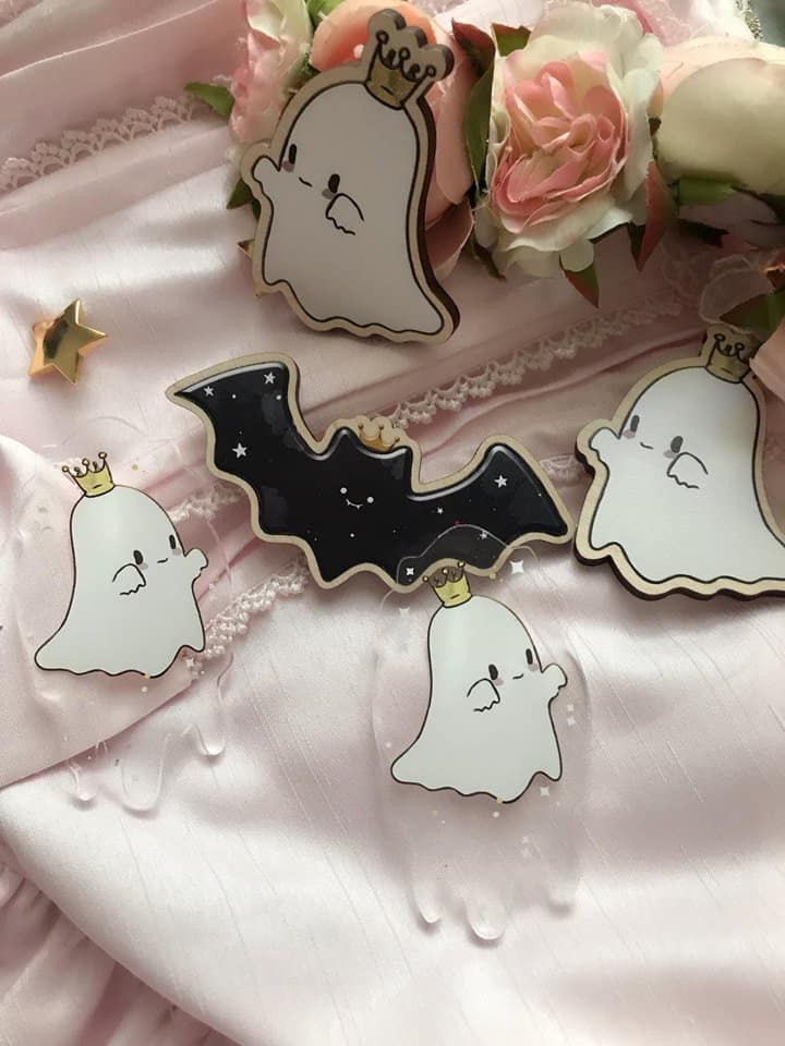 Image of Little Ghost in Ectoplasm Acrylic Brooch