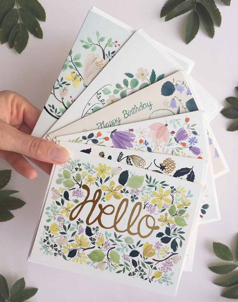 Image of Hello, Happy Birthday Greeting Cards, pack of 6