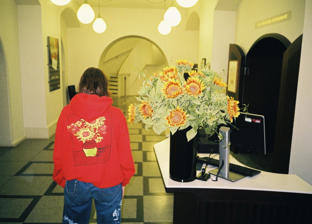 "Image of RED ""WHAT WOULD VINCENT THINK?"" HOODIE"