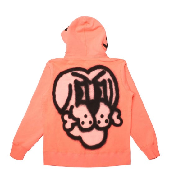 Image of Supreme Bone Zip Up Hoody - Flourescent Pink - Size Medium