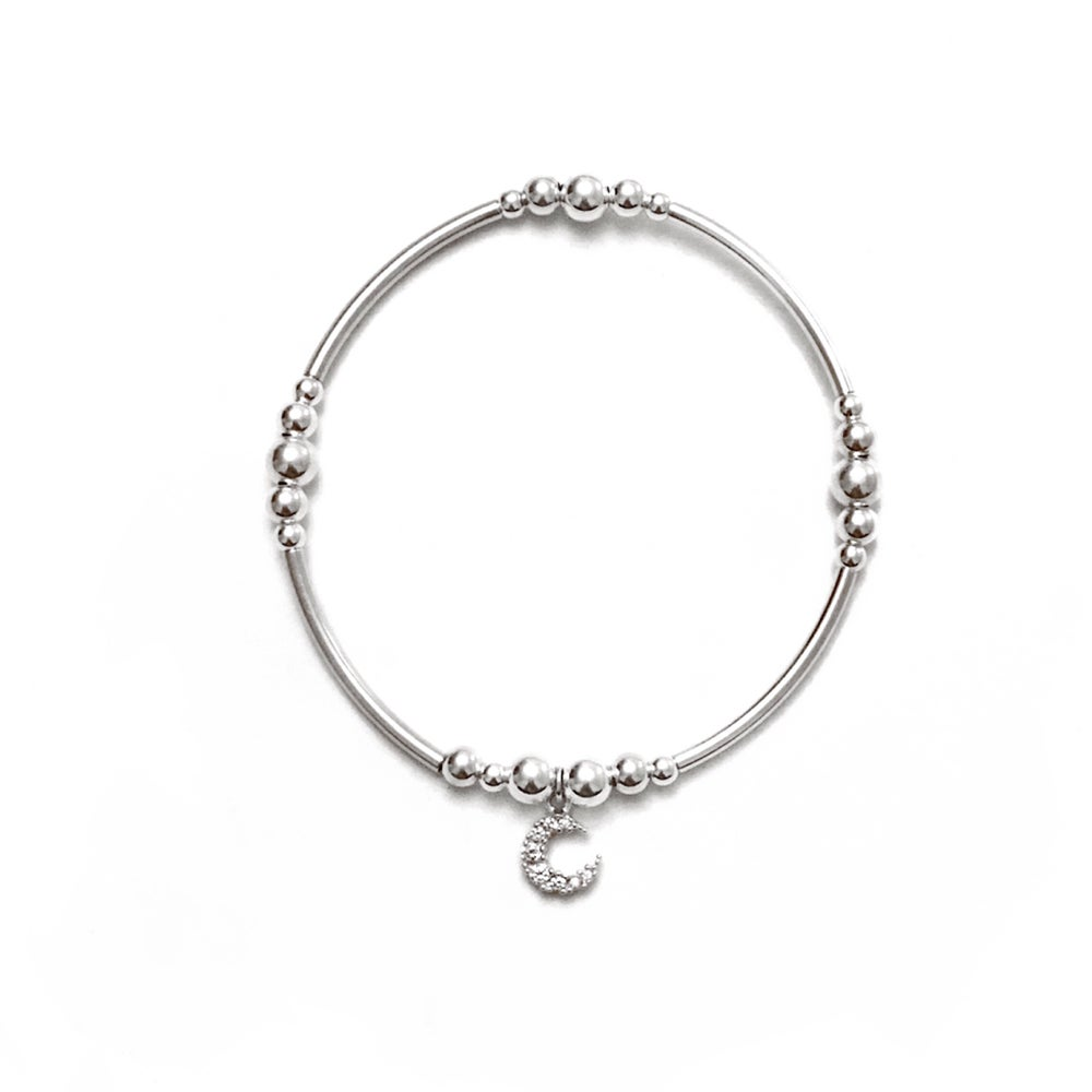 Image of Sterling Silver Crescent Moon Charm Bracelet