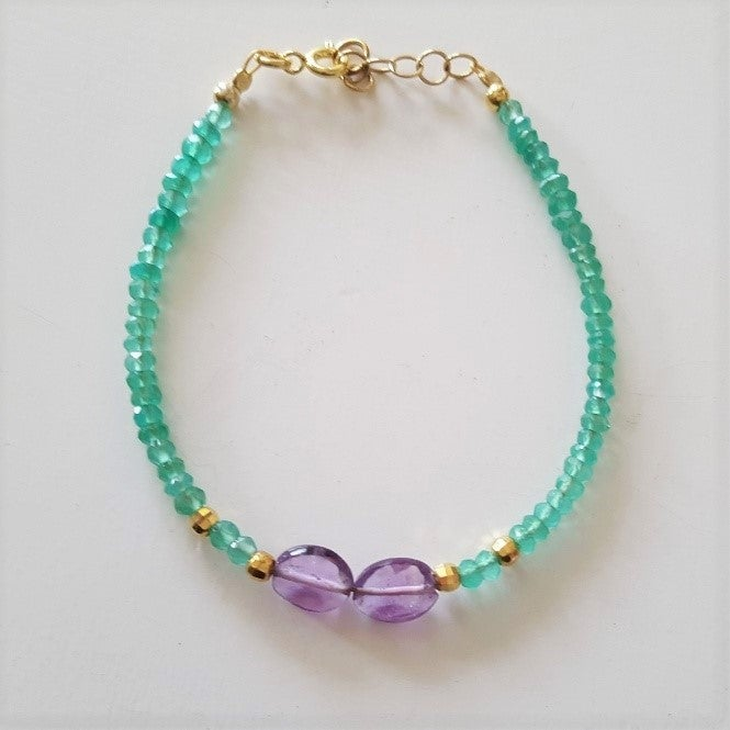 Image of Green agate and amethyst bracelets