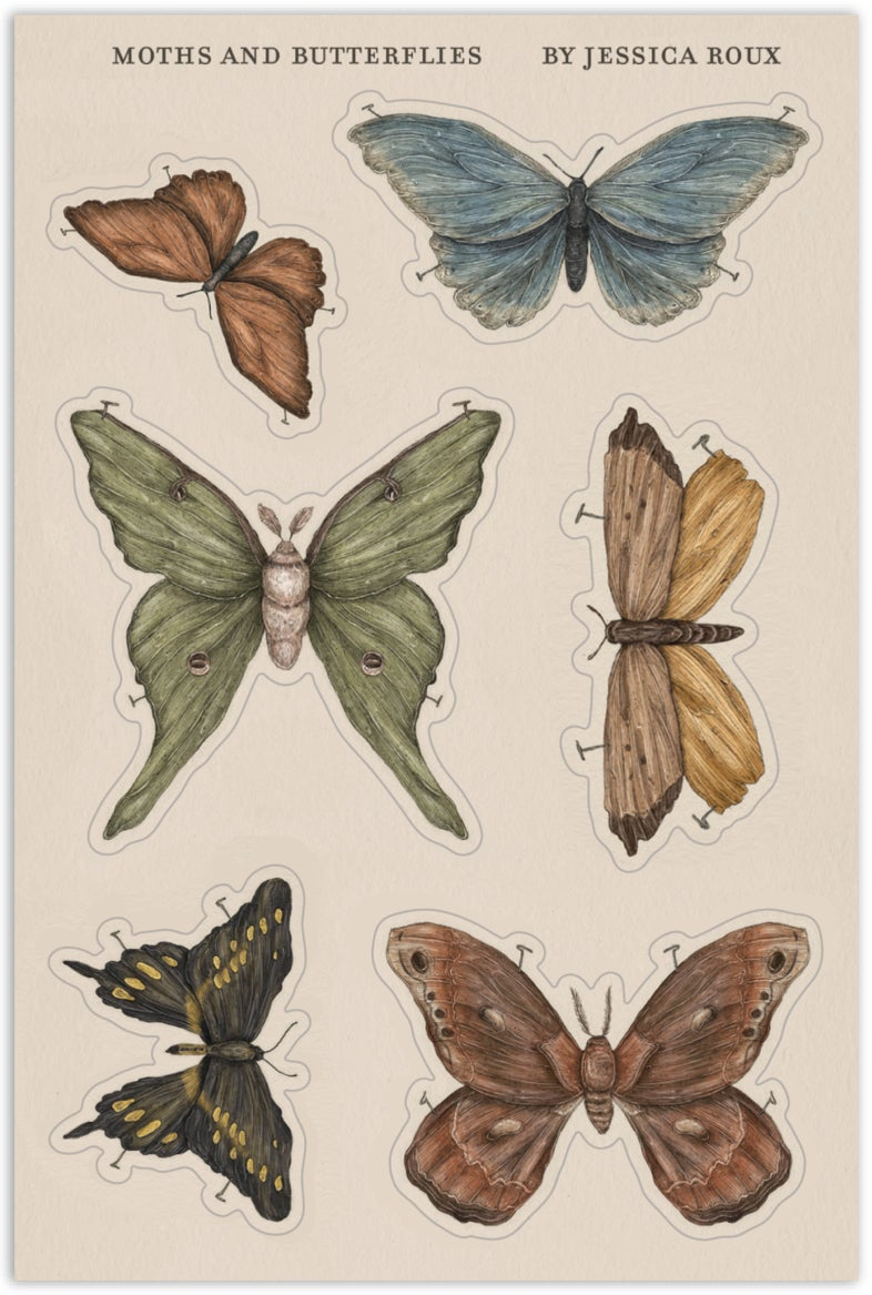 Image of Moths and Butterflies Sticker Sheet