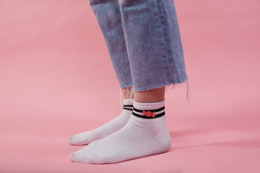 Image of Pink Candy Striped Skater Tube Socks WHITE
