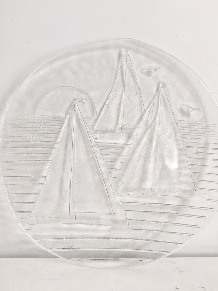 Image of Vintage Glass Sailboat Tray