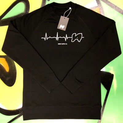 Image of Black Heartbeat Sweatshirt [RECOMMENDED SIZE DOWN]