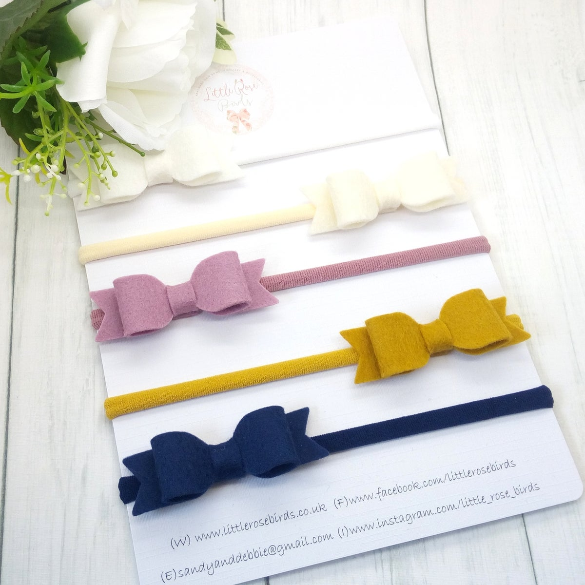 Image of SET OF 5 Bows on Headbands or Clips