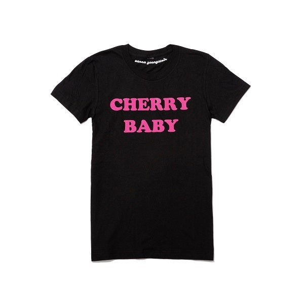 Image of PRE ORDER New Black and Pink Cherry Baby Tee