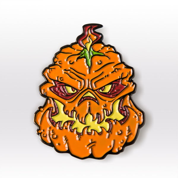 "Image of ""Shadow of the Zombie Pumpkins!"" Enamel Lapel Pin"