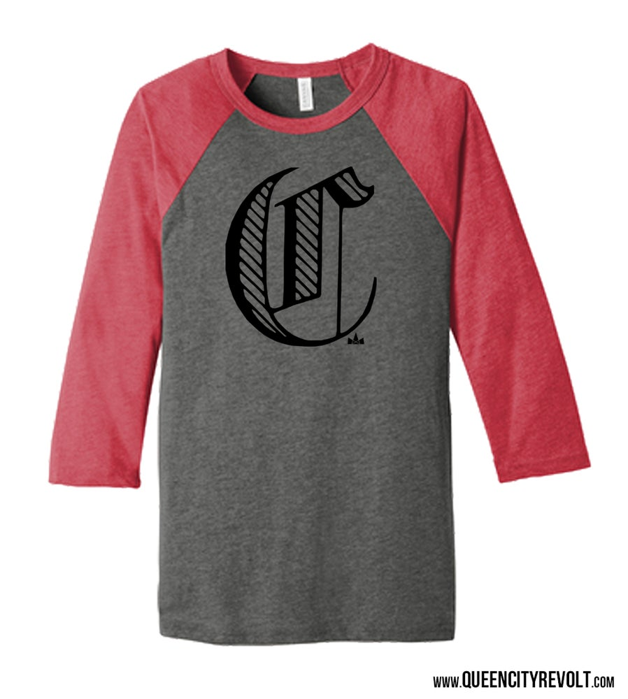 Image of Cincinnati C, 3/4 Sleeve, Red/Grey