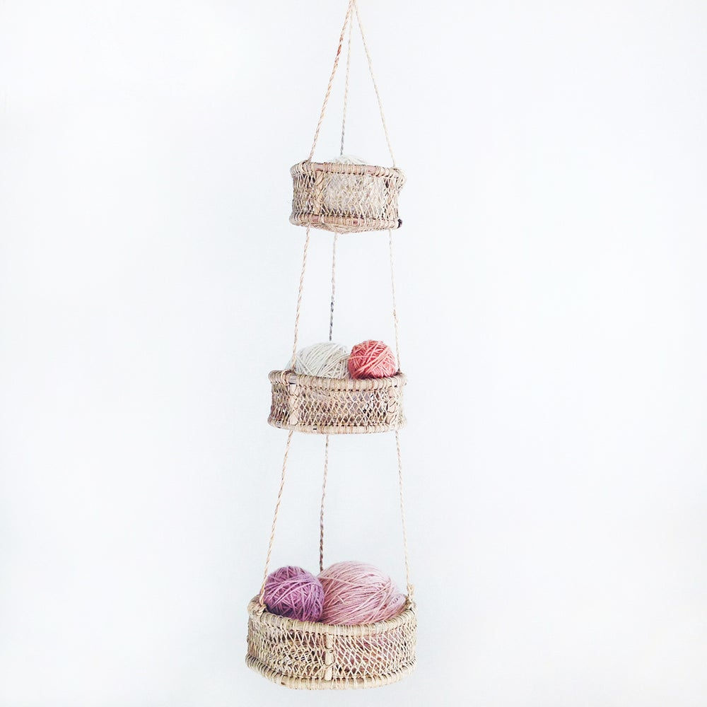 Image of Luna Handwoven Tree Bark Hanging Basket