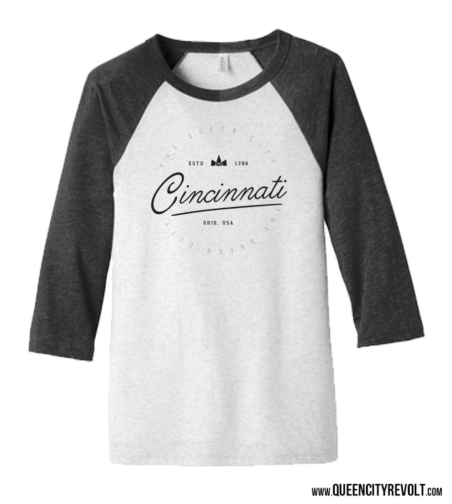 Image of Cincinnati Circle, 3/4 Sleeve, Black/White
