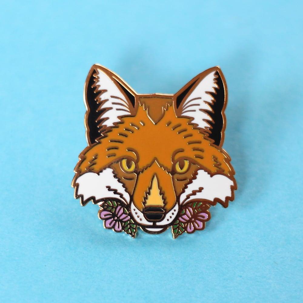 Image of Red Fox with flowers, hard enamel pin - fox pin - wildlife pin - lapel pin badge