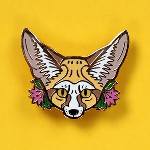 Image of Fennec Fox with flowers, hard enamel pin - desert fox - lapel pin badge