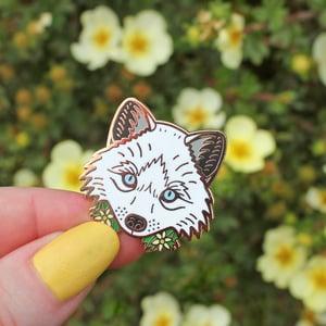 Image of Arctic Fox with flowers, hard enamel pin - snow fox - lapel pin badge