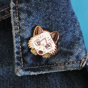 Image of Arctic Fox with flowers, hard enamel pin - snow fox - lapel pin badge