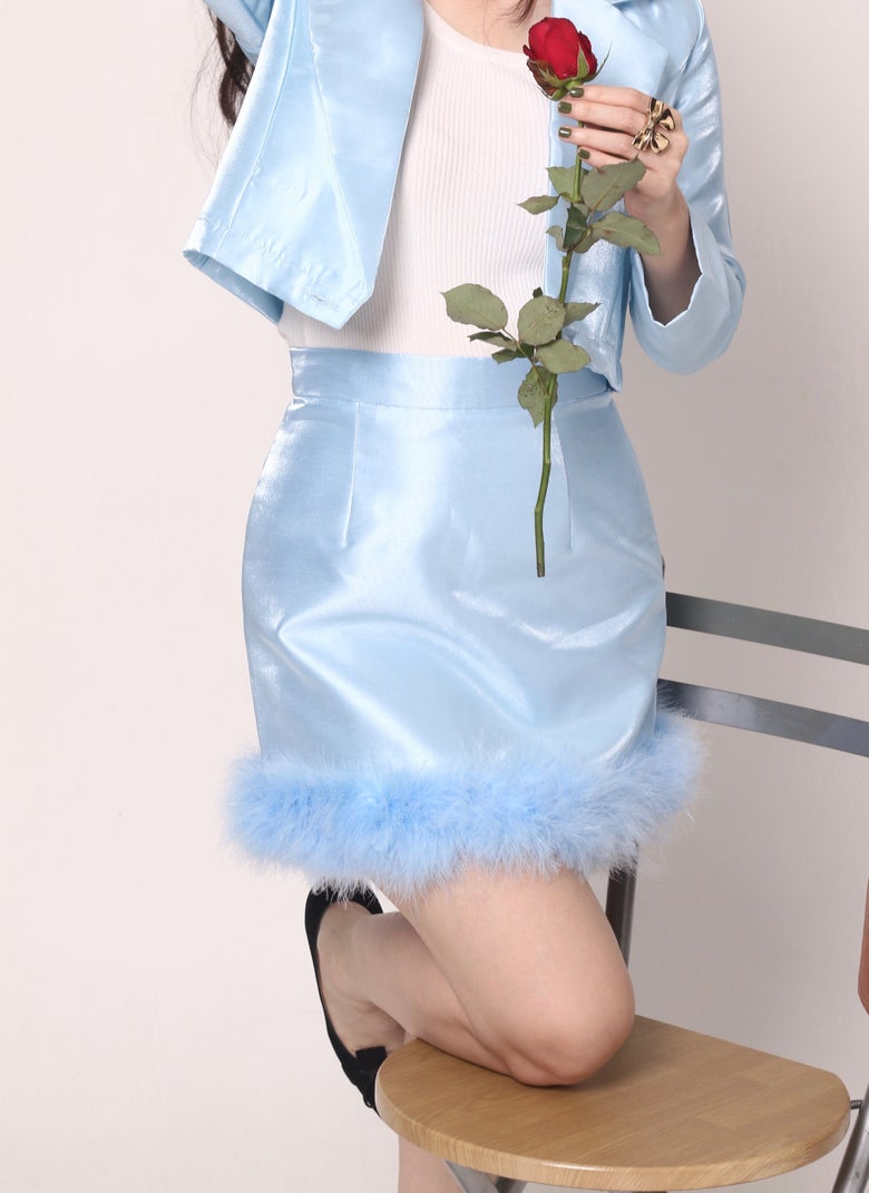 Image of Michelle Silk Skirt in Blue