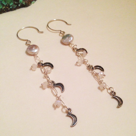 Image of The Moon Gray Freshwater Coin Pearl Moonstone Sterling Silver Gemstone Dangle Earrings | Handmade