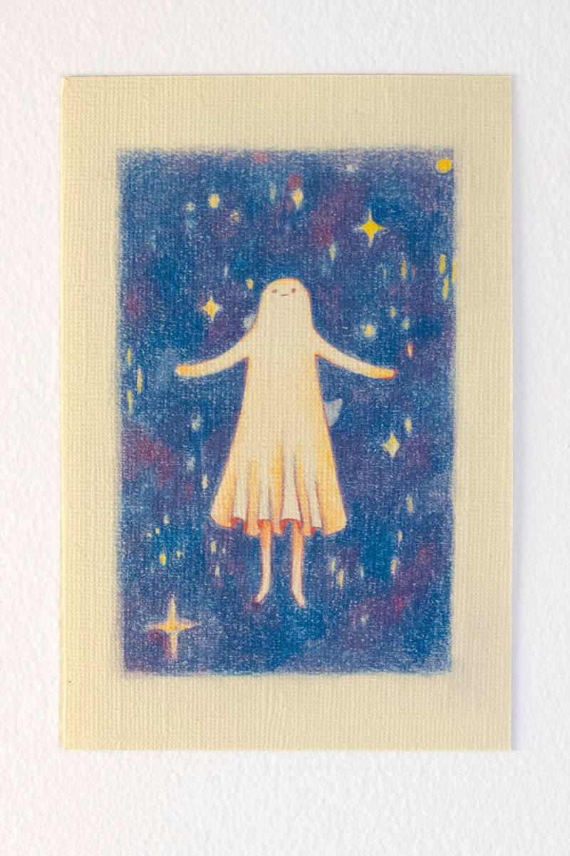 Image of Ghost Girl goes to Space Postcard