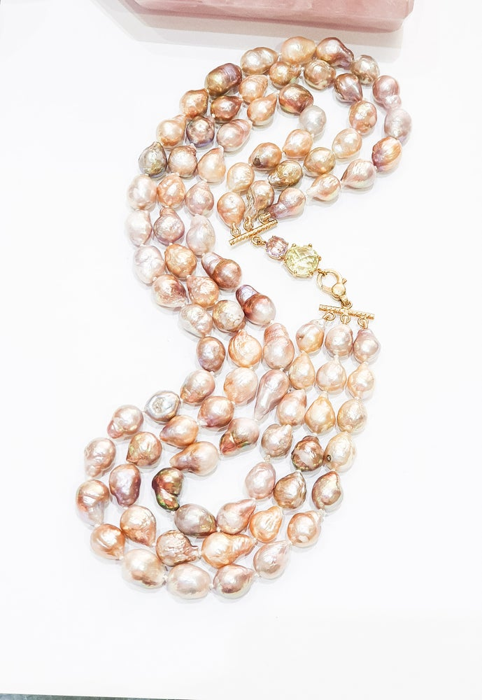 Image of 3 Row Pink Baroque Pearl Necklace on Amethyst and Lemon Quartz Clasp