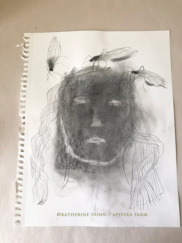 Image of Drawing; Woman and Mosquitos