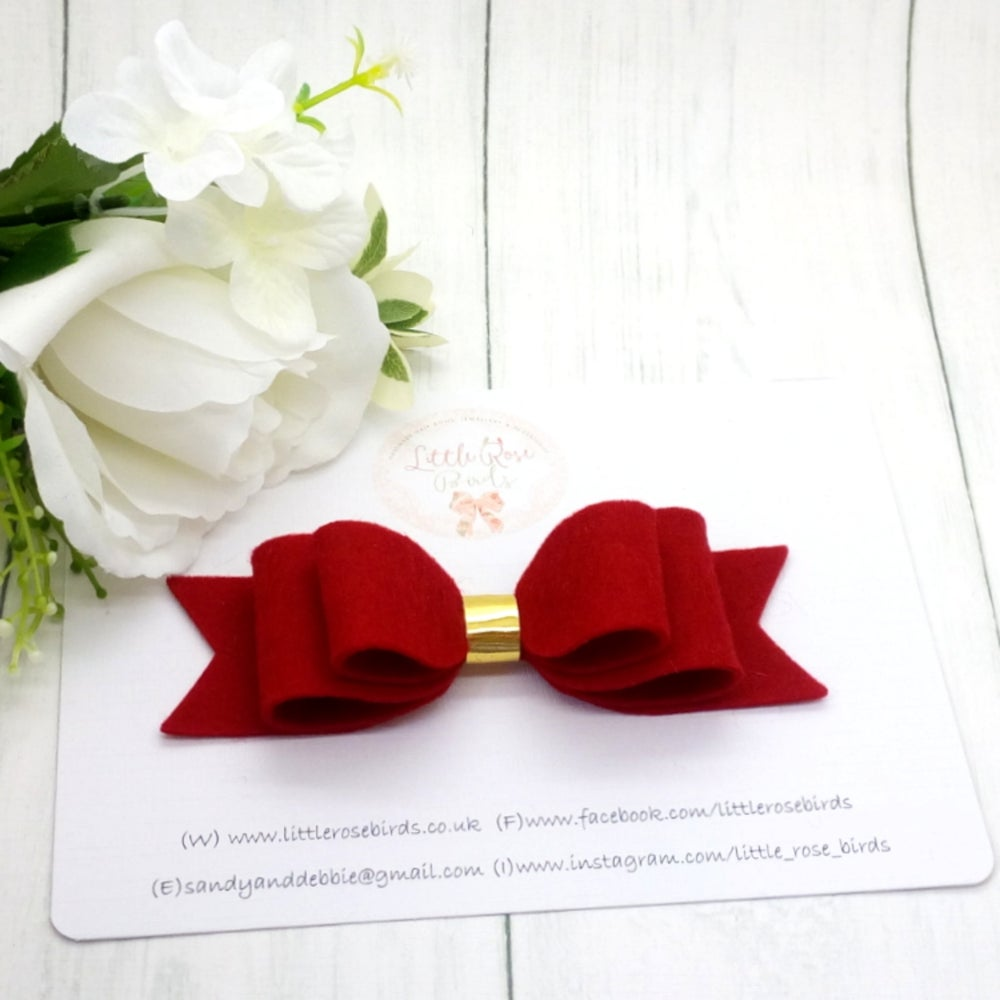 "Image of Red 4"" Felt Hair Bow on Headband or Clip"