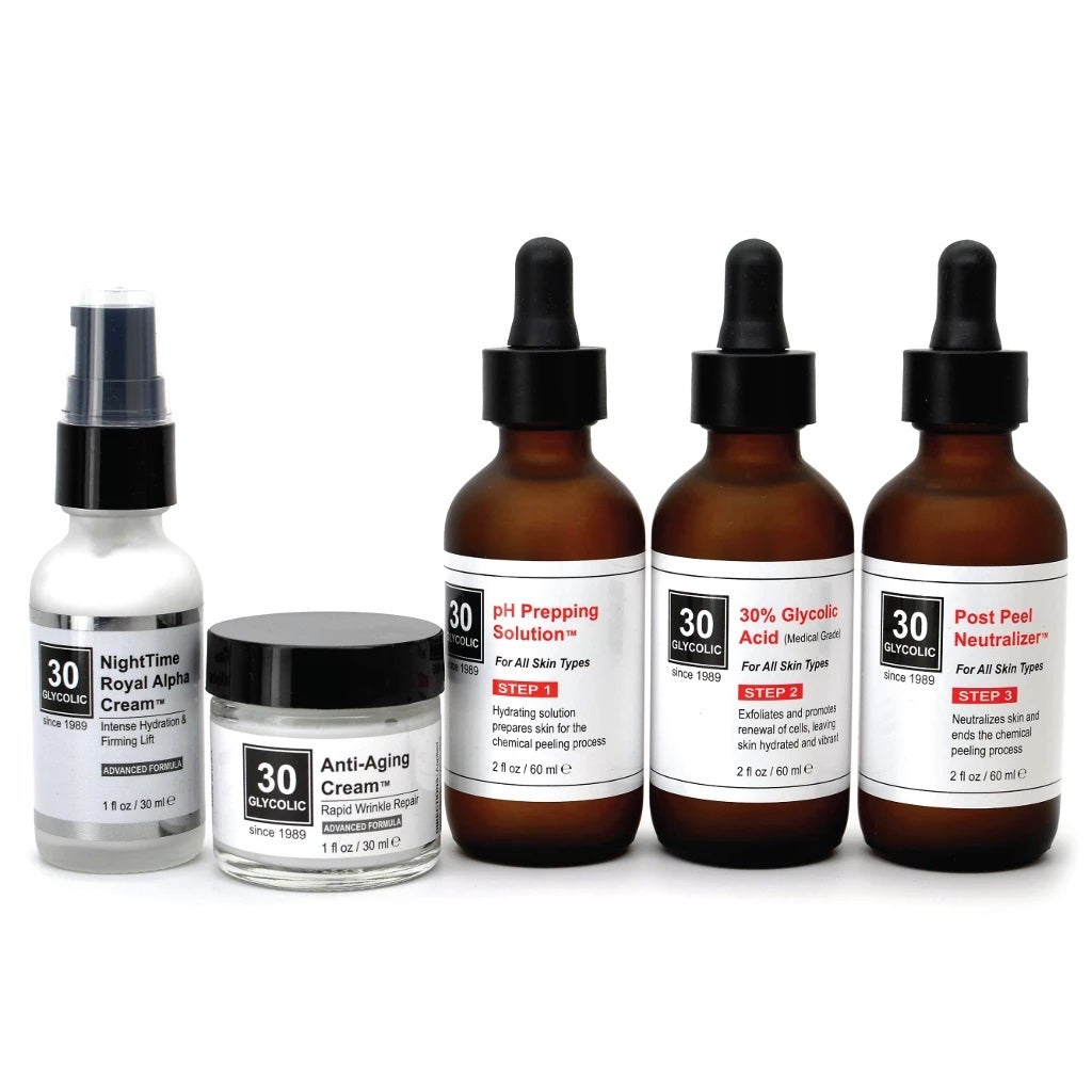 Image of 30% Anti-Wrinkle Anti-Aging Glycolic Peel System - FREE $65 Anti-Wrinkle Creams INCLUDED