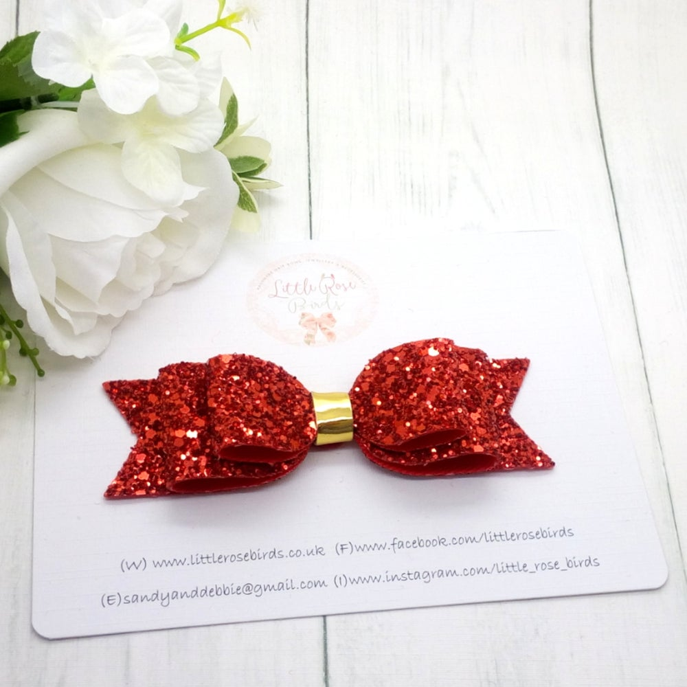 "Image of Red 4"" Glitter Hair Bow on Headband or Clip"