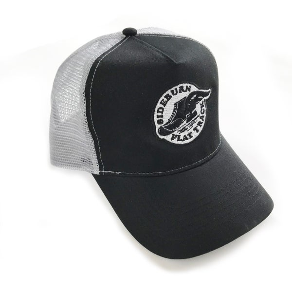 Image of Flat Track Trucker Cap - Black and Grey