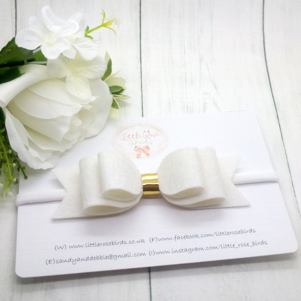 "Image of White 4"" Bow on Headband or Clip"