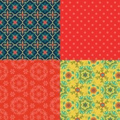 Image of Wildflower Boutique Red Fat Quarter Panel